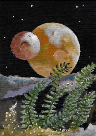 """'alien moons', acrylic, Alexandra Jane Tims, 5"""" x 8"""", May 2017"""